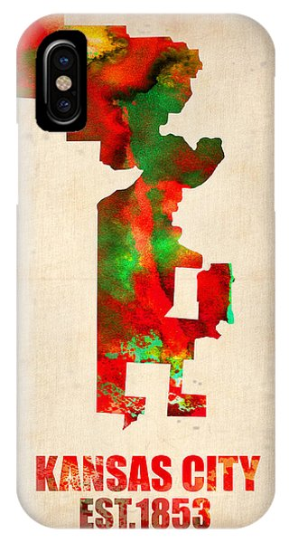 Midwest iPhone Case - Kansas City Watercolor Map by Naxart Studio