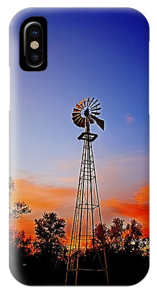 Kansas Windmill In The Sunset IPhone Case