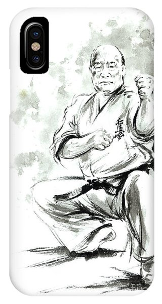 Oyama iPhone Case - Karate Martial Arts Kyokushinkai Masutatsu Oyama Japanese Kick Japan Ink Sumi-e by Mariusz Szmerdt