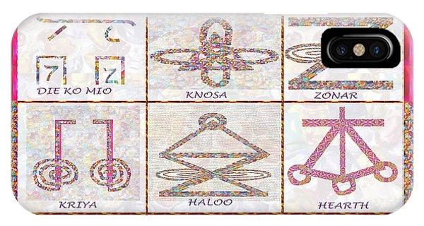Karuna Reiki Healing Power Symbols Artwork With  Crystal Borders By Master Navinjoshi IPhone Case