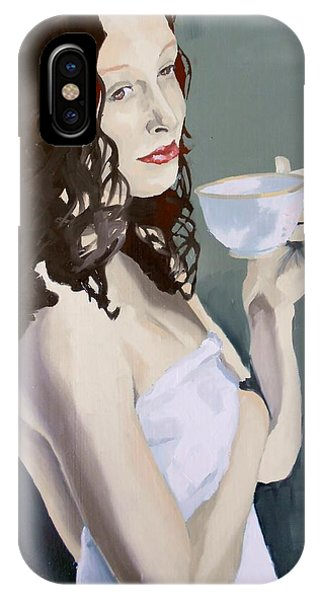 IPhone Case featuring the painting Katie - Morning Cup Of Tea by Stephen Panoushek