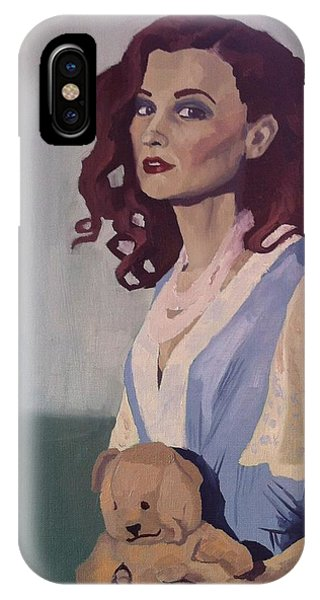 IPhone Case featuring the painting Katie - Teddy Bear by Stephen Panoushek