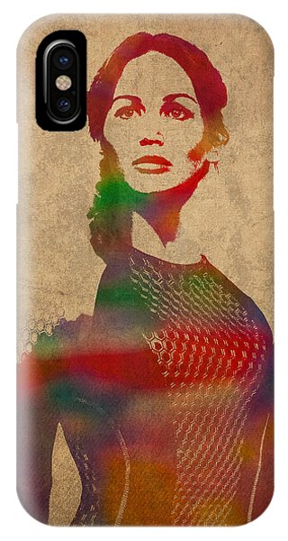 Hunger Games Jennifer Lawrence iPhone Case - Katniss Everdeen From Hunger Games Jennifer Lawrence Watercolor Portrait On Worn Parchment by Design Turnpike