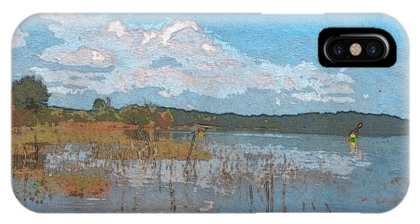 Lake Juliette iPhone Case - Kayaking At Lake Juliette by Donna Brown