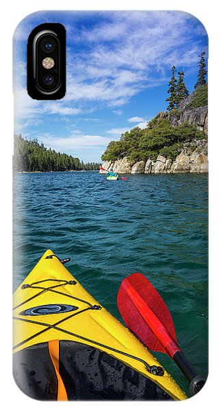 Kayaking In Emerald Bay At Fannette Phone Case by Russ Bishop