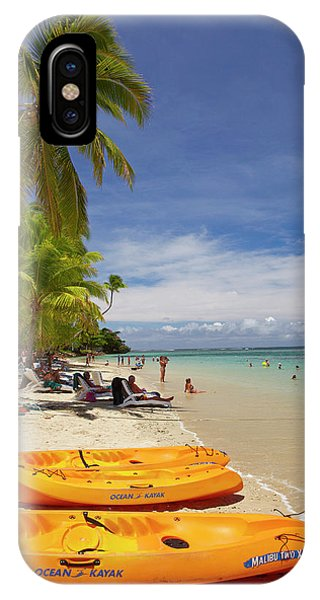 Catamaran iPhone Case - Kayaks And Beach, Shangri-la Fijian by David Wall