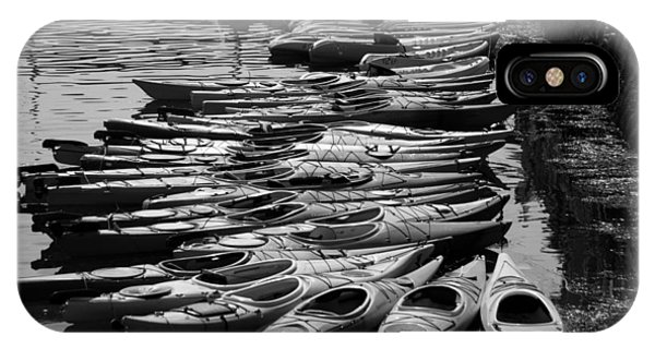 Kayaks At Rockport Black And White IPhone Case