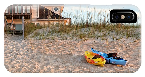 Kayaks Rest On Sand Dune In Morning Sun. IPhone Case