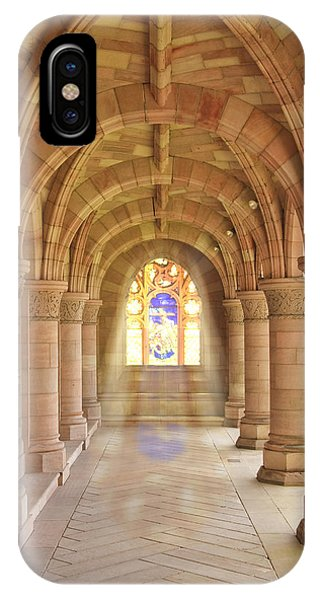 IPhone Case featuring the photograph Kelso Abbey Stained Glass by Susan Leonard