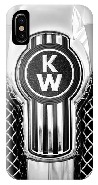 IPhone Case featuring the photograph Kenworth Truck Emblem -1196bw by Jill Reger