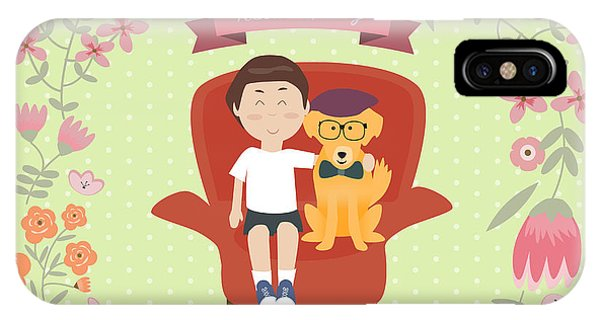 Retriever iPhone Case - Kid With Golden Retriever Dog On The by Travel And Learn