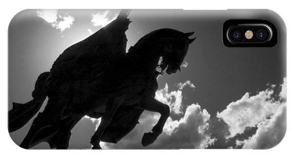 King Horseback Statue Black White IPhone Case