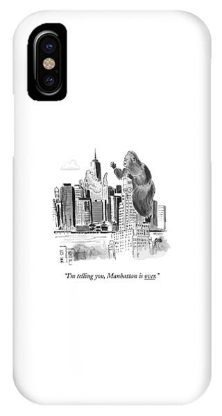 Cities iPhone Case - King Kong, Atop The Williamsburgh Savings Bank by Emily Flake
