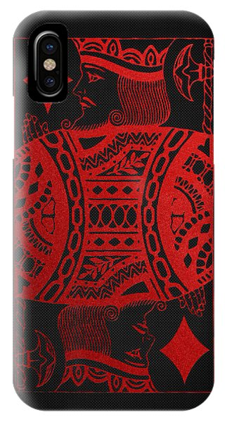 King Of Diamonds In Red On Black Canvas   IPhone Case