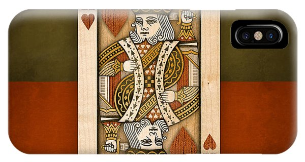 King Of Hearts In Wood IPhone Case