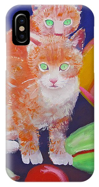iPhone Case - kittens With A Ball of Wool by Charles Stuart