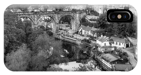 Knaresbrough Viaduct Black And White Reflection IPhone Case