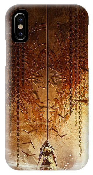 Decoration iPhone Case - Knight Standing In Front Of The Huge by Tithi Luadthong