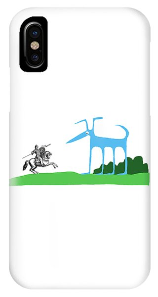 Knight With Armor And Cartoon Dog Facing Each IPhone Case