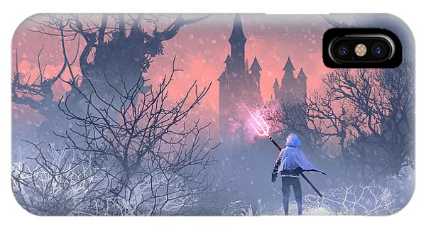Knight iPhone X Case - Knight With Trident In Winter by Tithi Luadthong