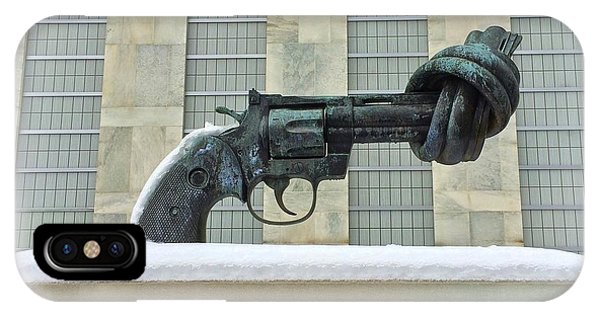 Knotted Gun Sculpture At The United Nations IPhone Case