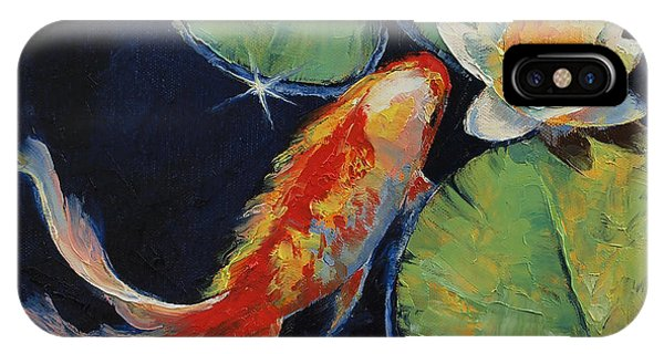 Koi iPhone Case - Koi And White Lily by Michael Creese