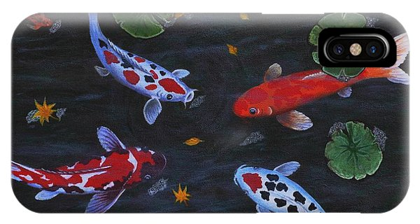 Koi Fishes Original Acrylic Painting IPhone Case