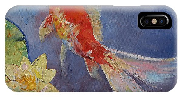 Fare iPhone Case - Koi On Blue And Mauve by Michael Creese