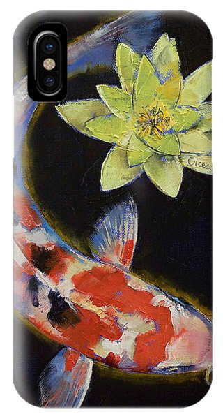 Koi iPhone Case - Koi With Yellow Water Lily by Michael Creese
