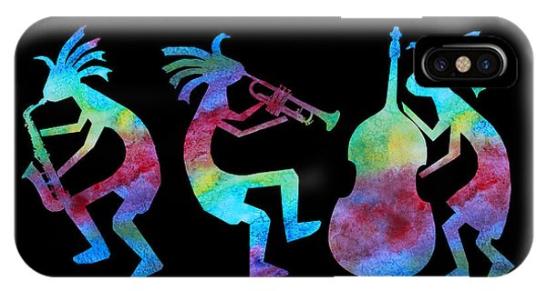 Music iPhone Case - Kokopelli Jazz Trio by Jenny Armitage