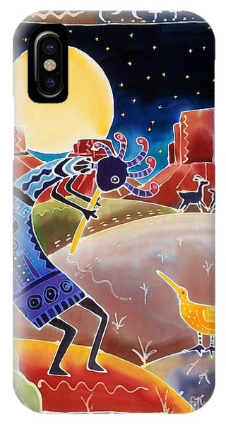 American Southwest iPhone Case - Kokopelli Sings Up The Moon by Harriet Peck Taylor