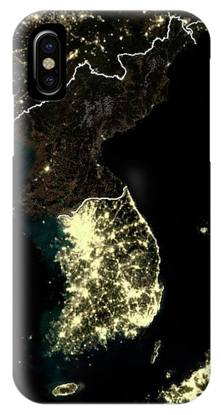 Korean Peninsula At Night Phone Case by Planetobserver