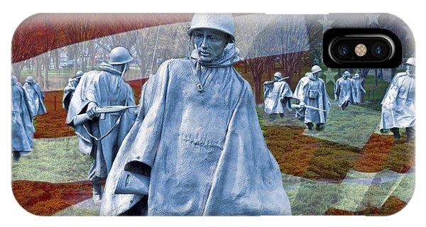 Korean War Veterans Memorial Bronze Sculpture American Flag IPhone Case