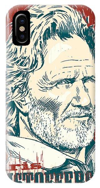 Johnny Cash iPhone Case - Kris Kristofferson Pop Art by Jim Zahniser