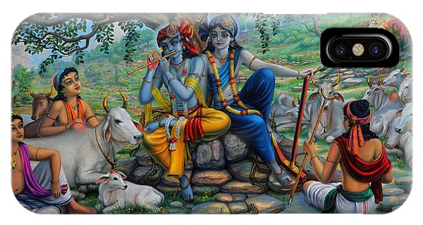 Krishna And Balaram With Friends On Govardhan Hill IPhone Case