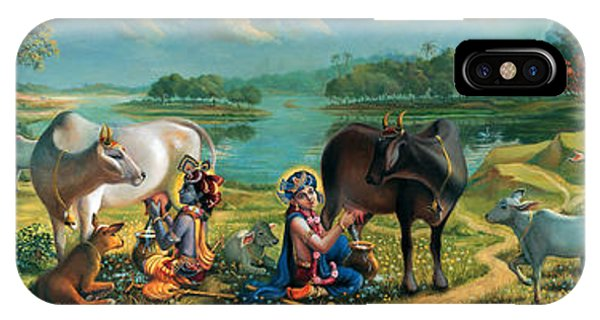 Krishna Balaram Milking Cows IPhone Case