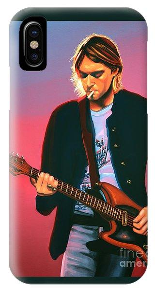 Popstar iPhone Case - Kurt Cobain In Nirvana Painting by Paul Meijering