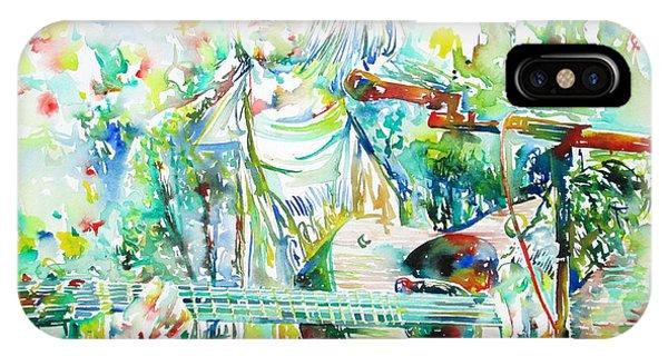 Kurt Cobain Playing The Guitar - Watercolor Portrait IPhone Case
