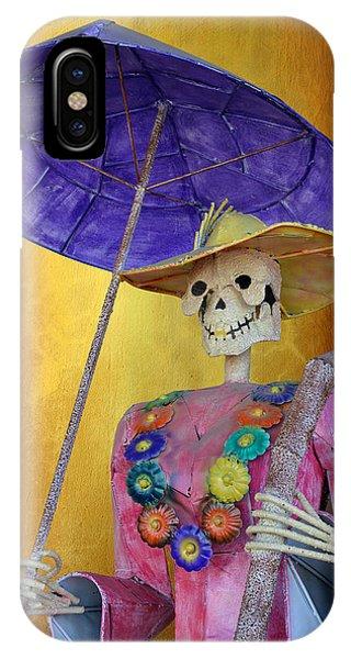 Katrina iPhone Case - La Catrina With Purple Umbrella by Christine Till