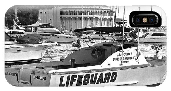 L A County Lifeguard Boat B W IPhone Case