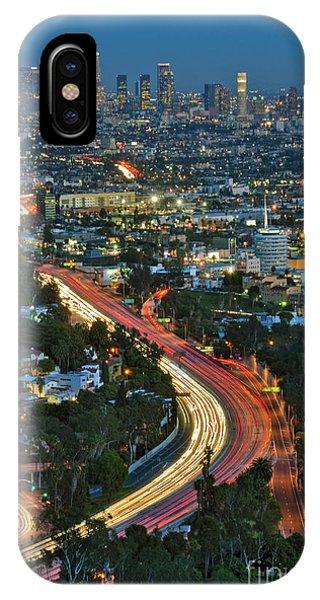 La Skyline Night Magic Hour Dusk Streaking Tail Lights Freeway IPhone Case