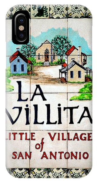 La Villita Tile Sign On The Riverwalk San Antonio Texas Watercolor Digital Art IPhone Case