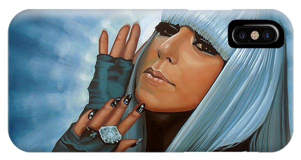 Electronic iPhone Case - Lady Gaga Painting by Paul Meijering
