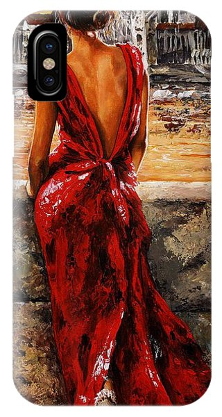 Impressionism iPhone X Case - Lady In Red  34 -  I Love Budapest by Emerico Imre Toth