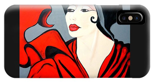 Lady In Red  Art Deco IPhone Case