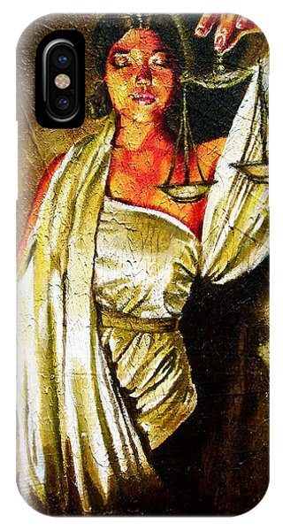 Fairness iPhone Case - Lady Justice Sepia by Laura Pierre-Louis