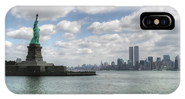 Lady Liberty And New York Twin Towers IPhone Case