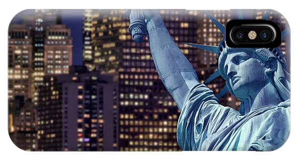 July 4 iPhone Case - Lady Liberty By Night by Delphimages Photo Creations