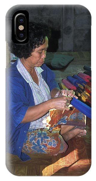 Lady Makes Umbrellas At A Factory Near Chaing Mai Phone Case by Richard Berry