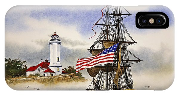 Port Townsend iPhone Case - Lady Washington At Point Wilson Lighthouse by James Williamson